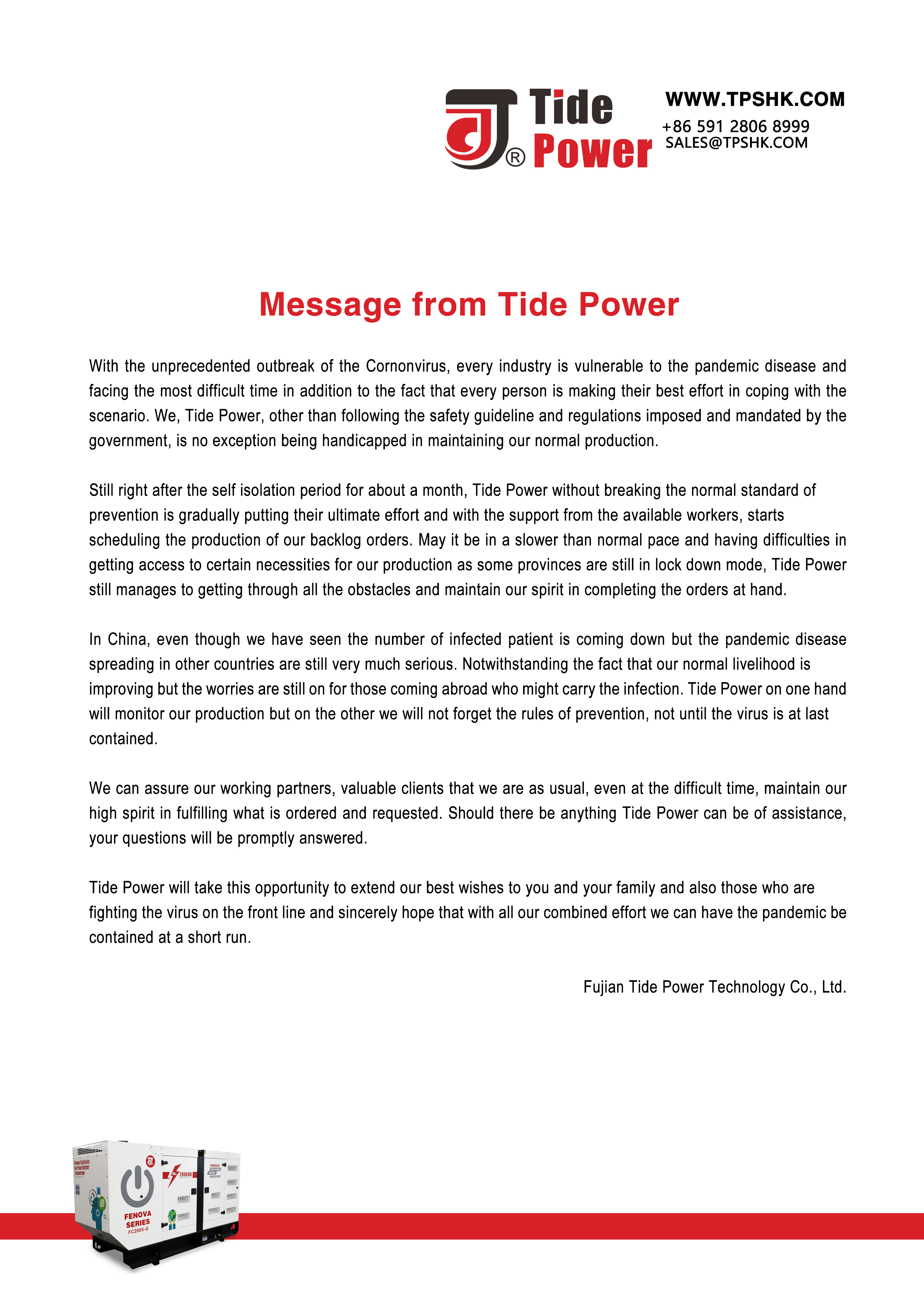 Message from Tide Power